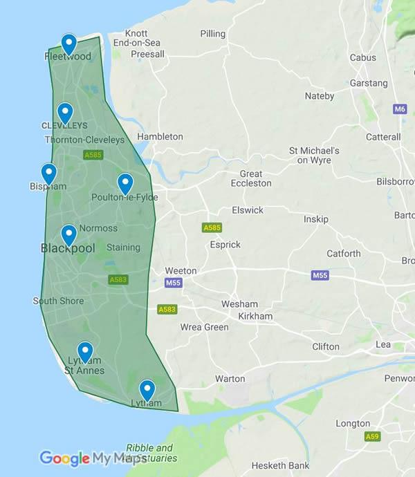 map showing service area, Blackpool, Clevelys, Bispham, Lytham St Annes, Lytham, Poulton-le-Fylde