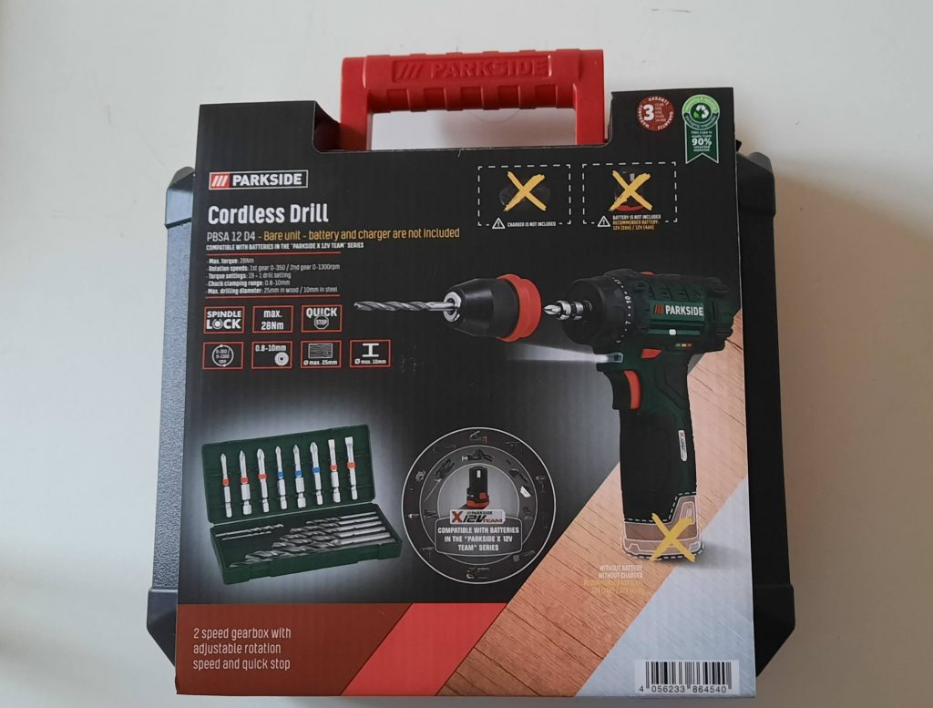 Cordless drill from the Parkside range 12v